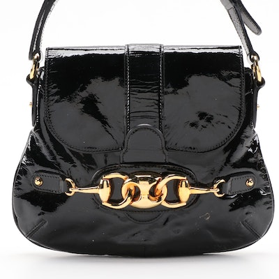 Gucci Horsebit Wave Flap Bag in Black Patent Leather