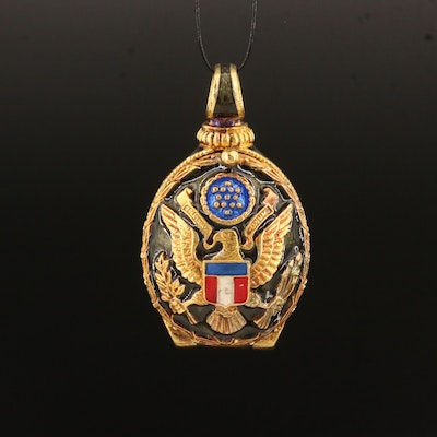 U.S. Army Sterling Silver Garnet and Guilloché Enamel Egg Pendant