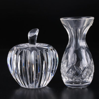 "Waterford Crystal Apple Paperweight  with ""Lismore"" Bud Vase"