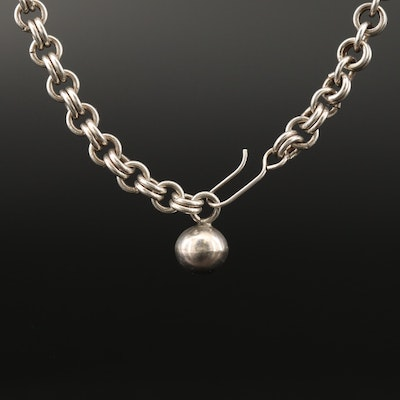 Sterling Silver Double Cable Link Chain Necklace