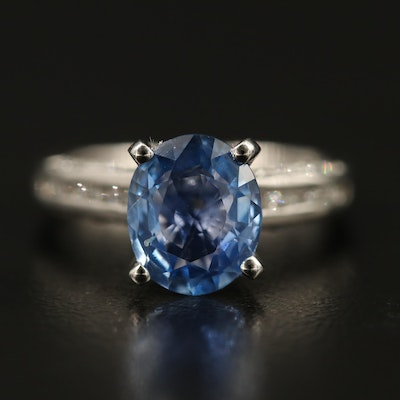 14K 2.24 CT Unheated Sri Lankan Blue Sapphire and Diamond Ring with GIA Report