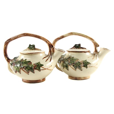 "Pair of McCoy Pottery ""Ivy"" Ceramic Teapots, Mid-20th Century"