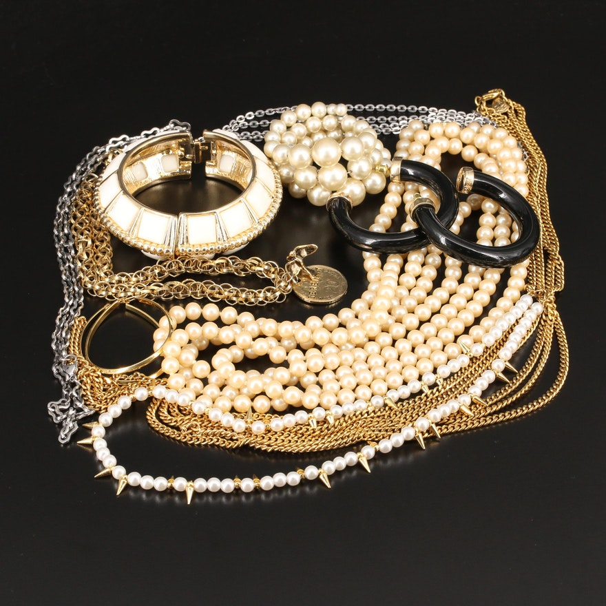 Bracelets, Earrings and Necklaces Featuring Kenneth Jay Lane and Faux Pearl