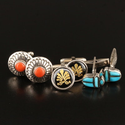 Sterling and 800 Silver Gemstone Cufflinks