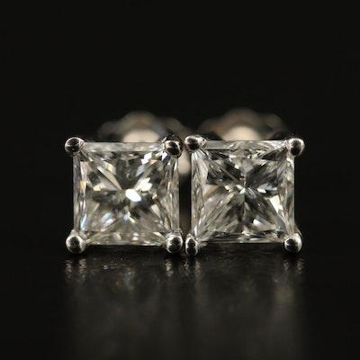 Platinum 1.88 CTW Diamond Stud Earrings with GIA Reports
