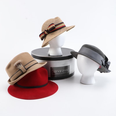 Frank Olive Hats In Fur Felt and Straw with French Room Mabley & Carew Hat Box