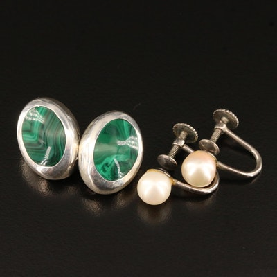 Sterling Silver Non-Pierced Earrings with Pearl