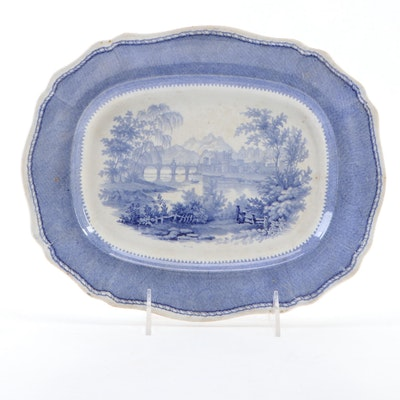 Davenport Blue and White Transferware Platter, Early 19th Century