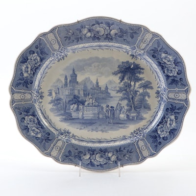 "English ""Olympian"" Blue and White Transferware Ceramic Charger"