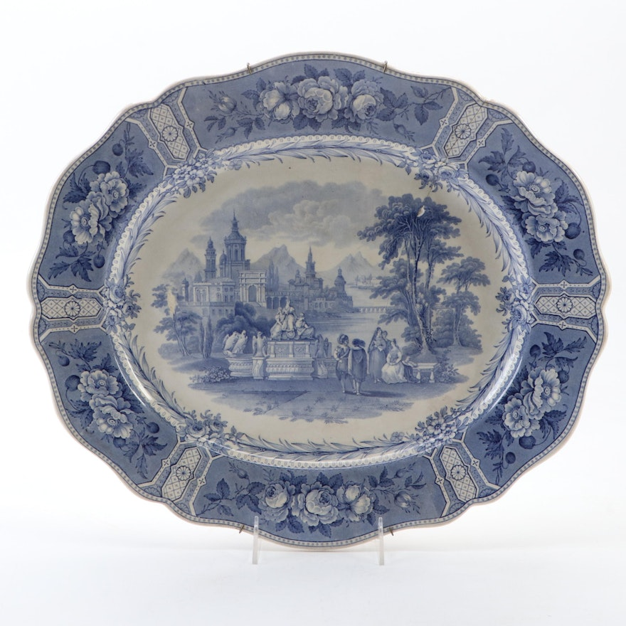 """English """"Olympian"""" Blue and White Transferware Ceramic Charger"""