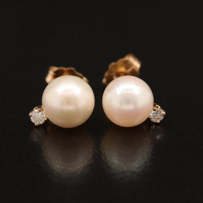14K Pearl and Diamond Stud Earrings