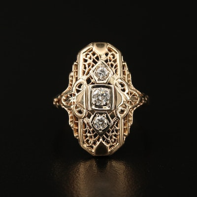 14K Diamond Filigree Ring