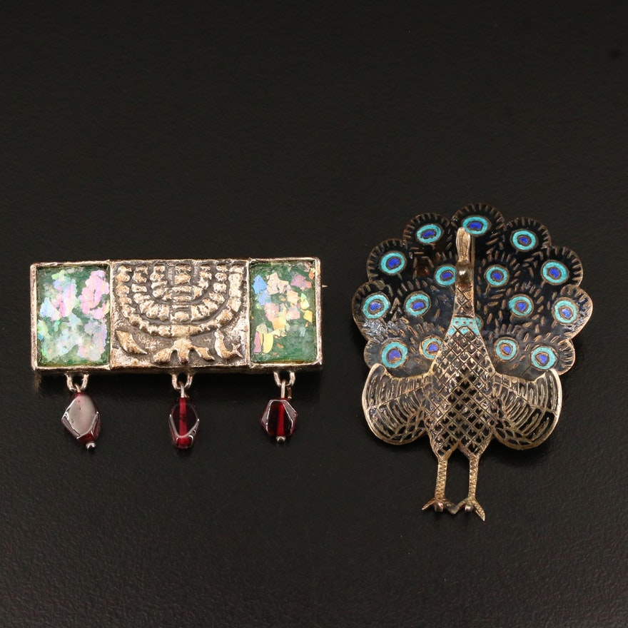 Vintage Siam Sterling Peacock Brooch with Sterling Menorah Brooch