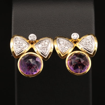 14K Amethyst and Diamond Angel Motif Drop Earrings