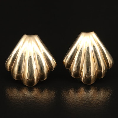 14K Sea Shell Motif Button Earrings