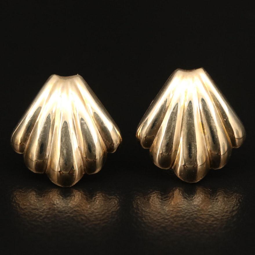 14K Sea Shell Motif Button Earrings