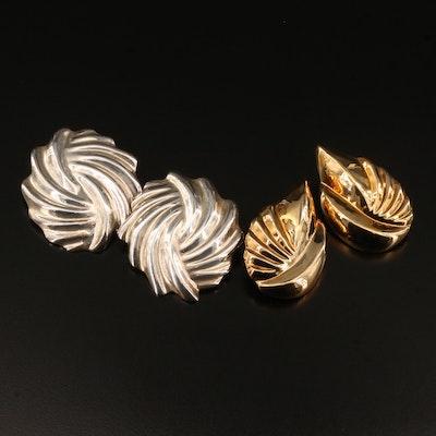Sterling Silver Ridged Clip-On Earrings