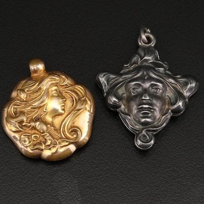 Art Nouveau Figural Locket and Pendant