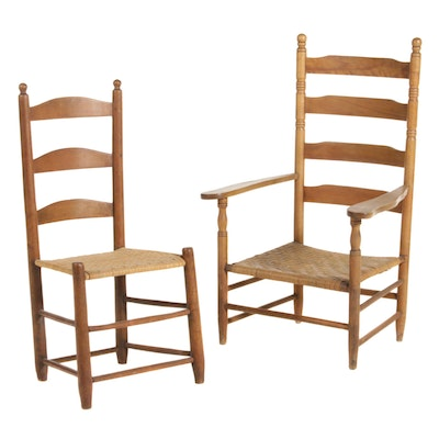 Two American Primitive Ladderback Armchairs with Splint Seats, Early 20th C.