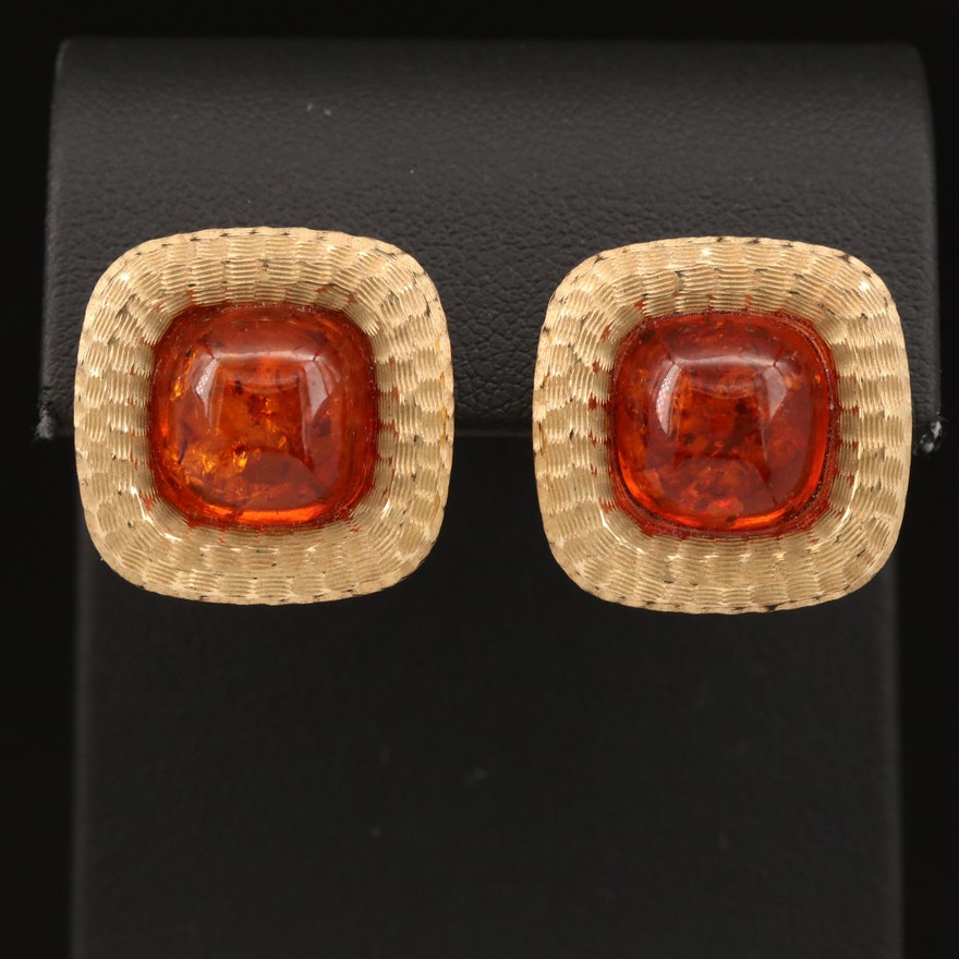 14K Amber Button Earrings with Textured Finish
