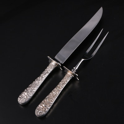 "S. Kirk & Son ""Repoussé"" Sterling Handled Carving Set"