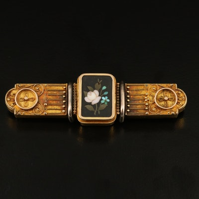Victorian Pietra Dura Rose Forget-Me-Not Watch Fob Pin with 10K Accent