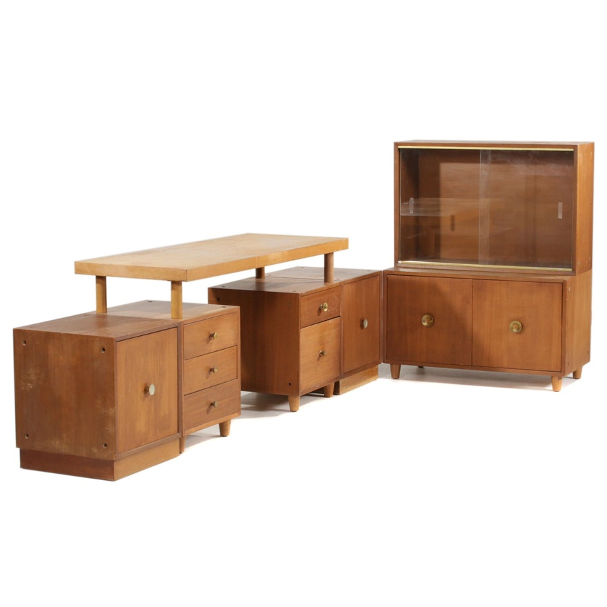 Mengel Mid Century Modern Modular Mahogany Veneer Desk and Cabinets
