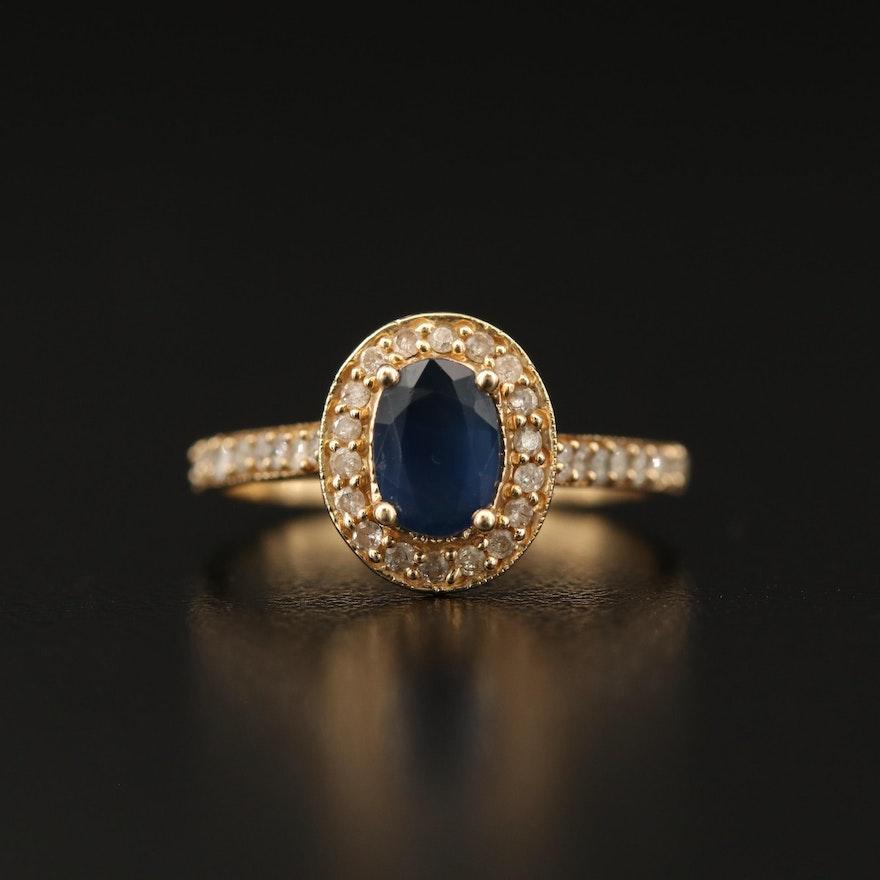 14K Sapphire and Diamond Halo Ring