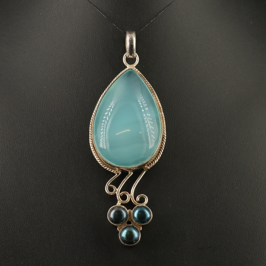 Sterling Chalcedony and Pearl Pendant