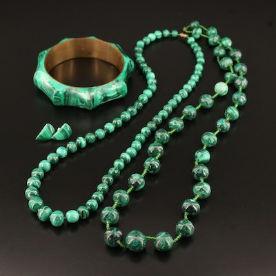 Malachite Jewelry Featuring Stud Earrings, Beaded Necklaces and Bangle