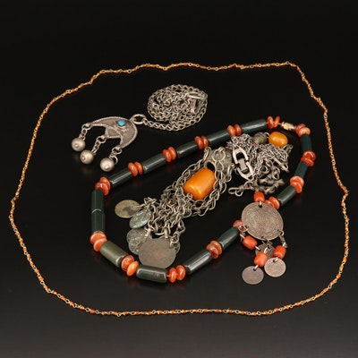 Assorted Necklaces Featuring Turkish Coins, Bakelite and Gemstone Accents