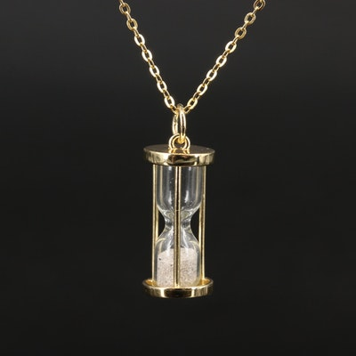 Sterling Hourglass Pendant Necklace
