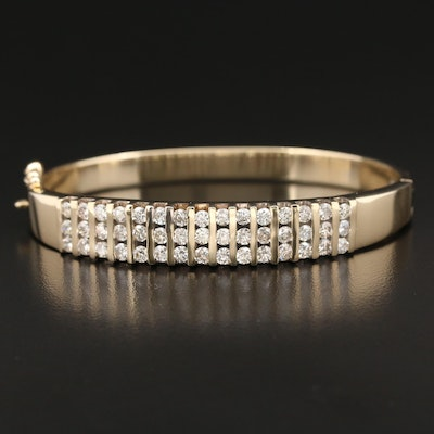 14K Gold 3.10 CTW Diamond Hinged Bangle