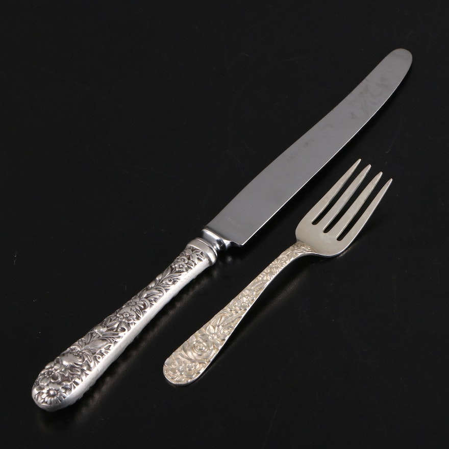 "S. Kirk & Son ""Repoussé"" Sterling Silver Handled Dinner Knife and Youth Fork"