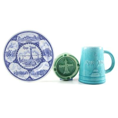 Ceramic Kings Island Ashtray, Mug and Plate, Circa 1970s