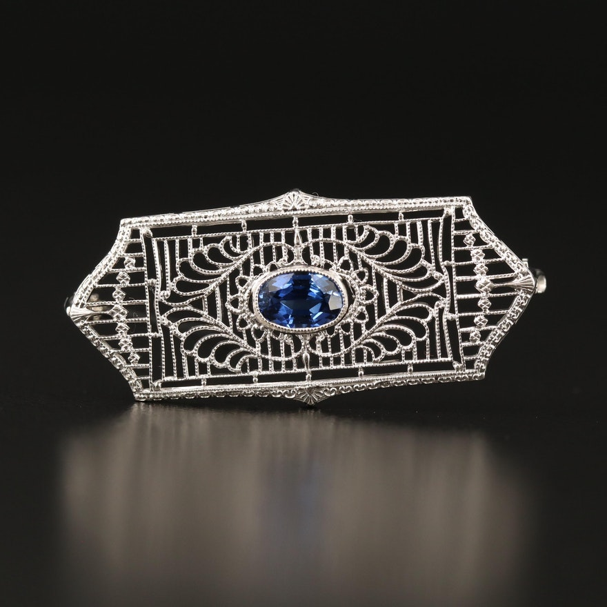 10K Sapphire Filigree Brooch