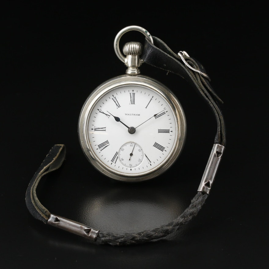 1903 Waltham Nickel Open Face Pocket Watch with Braided Leather Fob