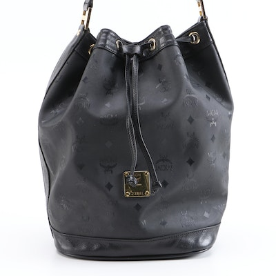 MCM Black Monogram Coated Canvas and Leather Bucket Bag