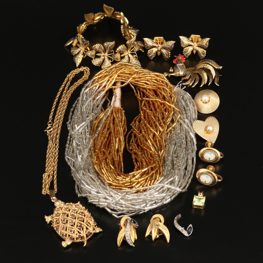 Vintage and Victorian Jewelry Including Rooster Brooch and Turtle Necklace
