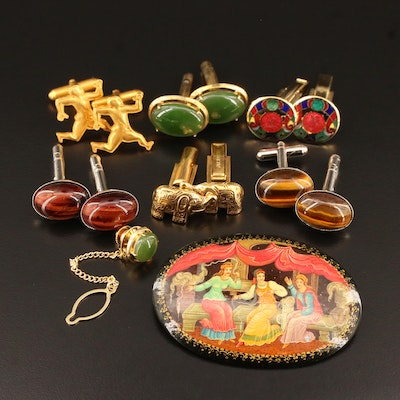 Assorted Jewelry Including Tiger's Eye, Nephrite and Enamel