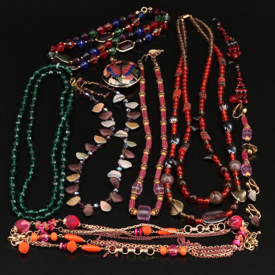 Assortment of Jewelry Including Rhinestone, Glass and Enamel