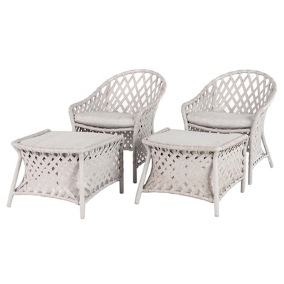 Brown Jordan Woven Synthetic Patio Chairs, Late 20th Century