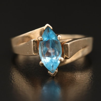 10K Topaz Solitaire Marquise Ring