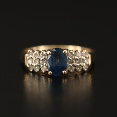 10K Sapphire Ring with Three Row Diamond Shoulders