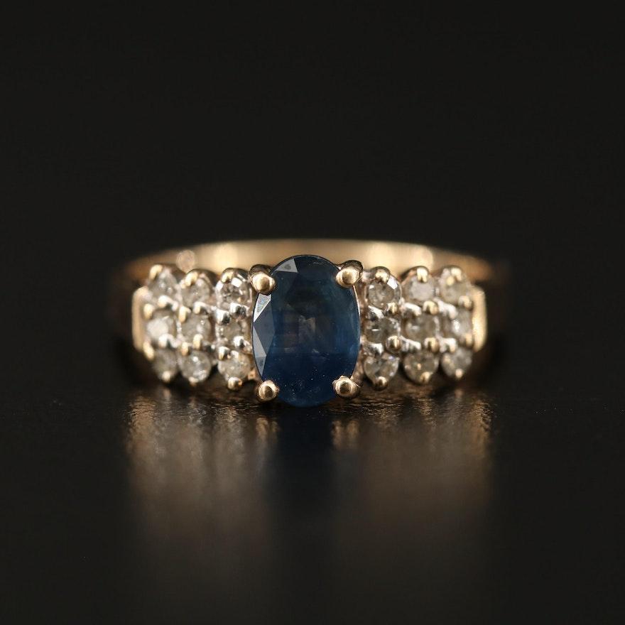 10K Sapphire Ring with Three Row Diamond Shoulders