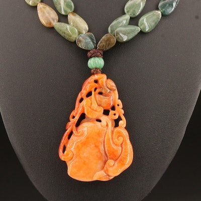 Carved Jadeite Peach Pendant on Agate and Aventurine Double Strand Necklace