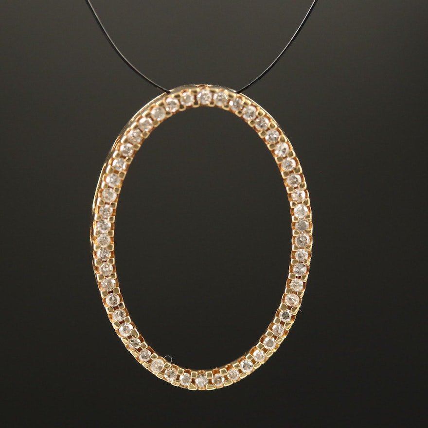 10K Oval Pendant Lined with Diamonds