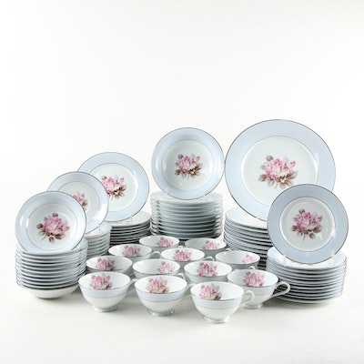 Noritake Japanese Pink Rose Porcelain Dinnerware, Mid-20th Century