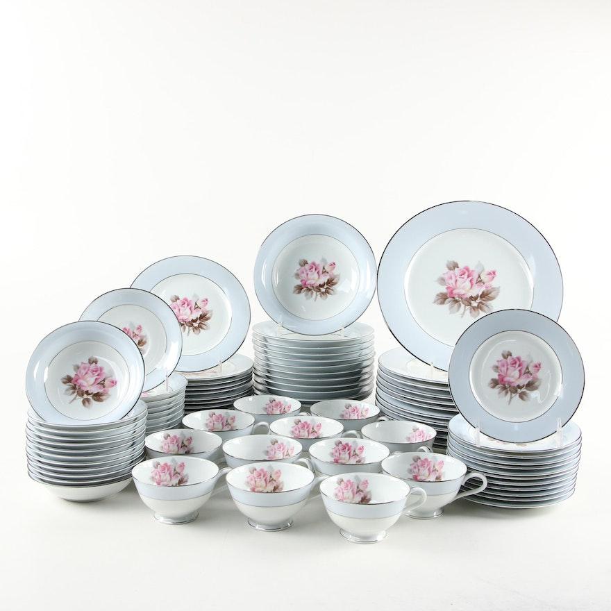 Noritake Japanese Pink Rose Porcelain Dinnerware, Mid-20th Century