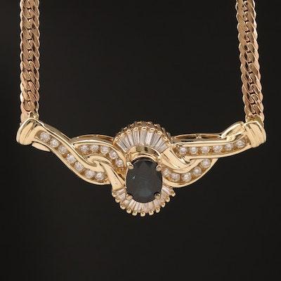 14K Diamond and Sapphire Stationary Pendant Necklace